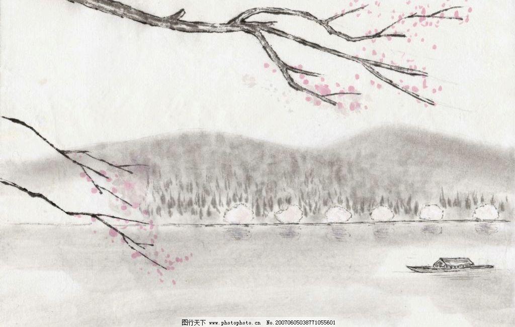 西湖水墨画素材图片