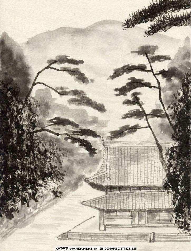 黑白水墨画 文化 艺术 美术 绘画 书法 山水画 水墨画 文化艺术 美术