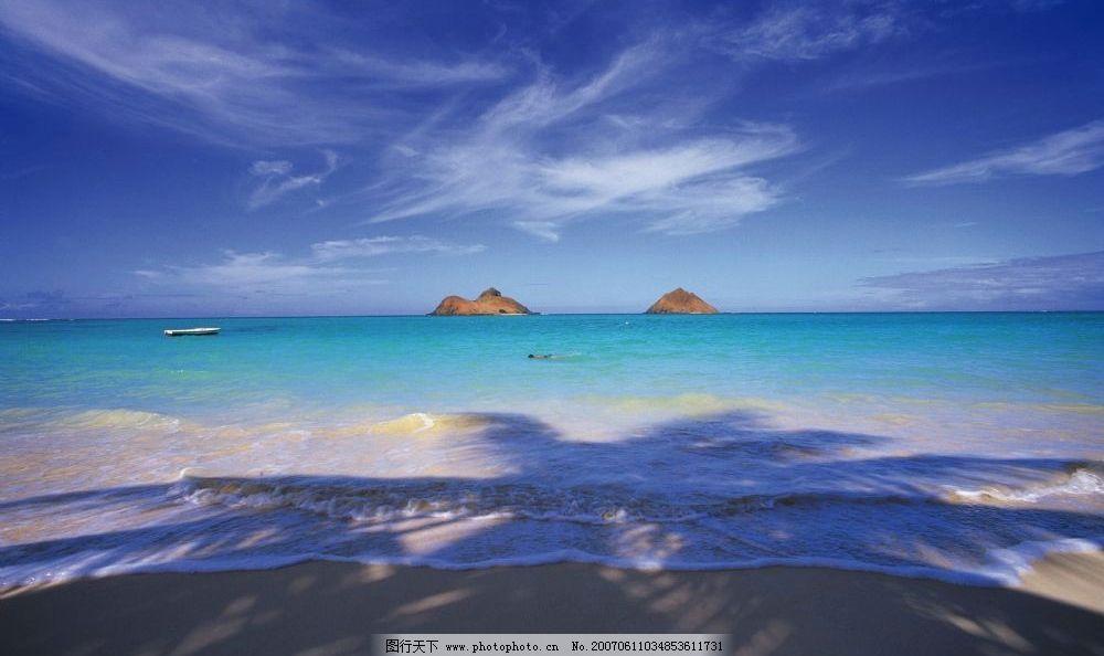 海滩 海岛 帆船 椰子树倒影 海滩海浪 摄影图库