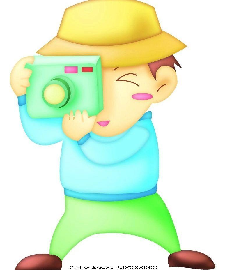拍照片 动漫 卡通 人物 男人 照相 卡通人物 设计图库 350dpi     350