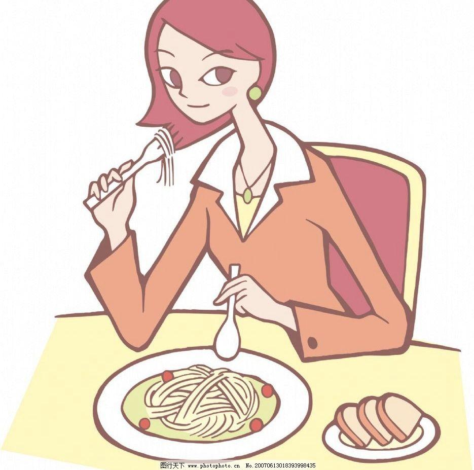 美女吃饭 卡通 动谩 人物 美女 女人 女性 女士卡通人物 设计图库 350