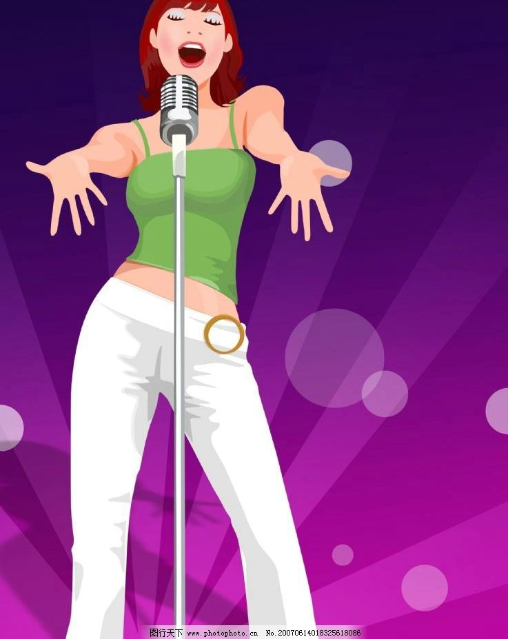 卡通歌手 韩国卡通 卡通美女 美女 舞女 唱歌 韩国卡通人物 设计图库