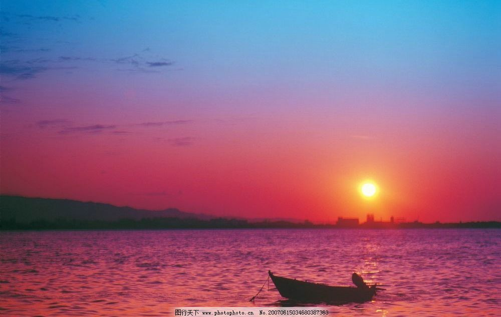 海边美景 海边日出 海边朝阳 海边朝霞 海边小船 自然景观 风景名胜