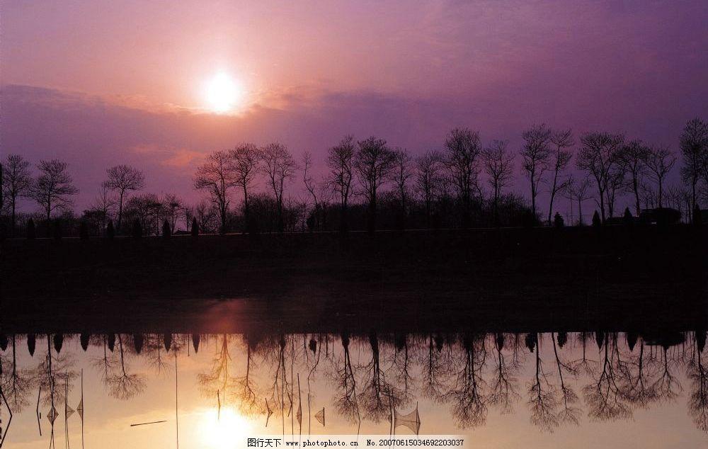 夕阳西下 自然风景壁纸 田园风光 树林 乡村景象 农村风光 乡村田野