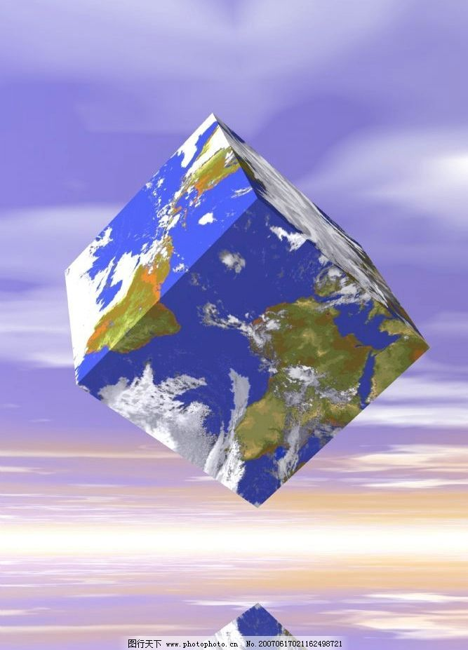 正方形地球图案 3d图 3d素材 3d合成图 地球图案 3d素材 设计图库 300