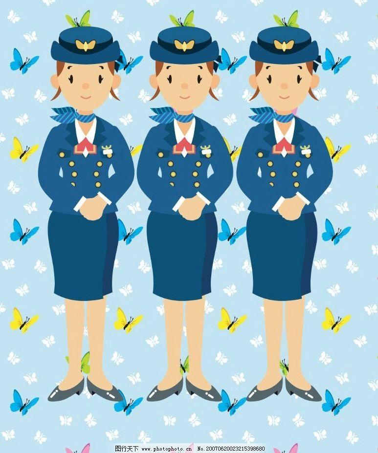 卡通空姐 行业人物 各行各业 漫画 卡通人物 矢量 矢量人物 职业人物