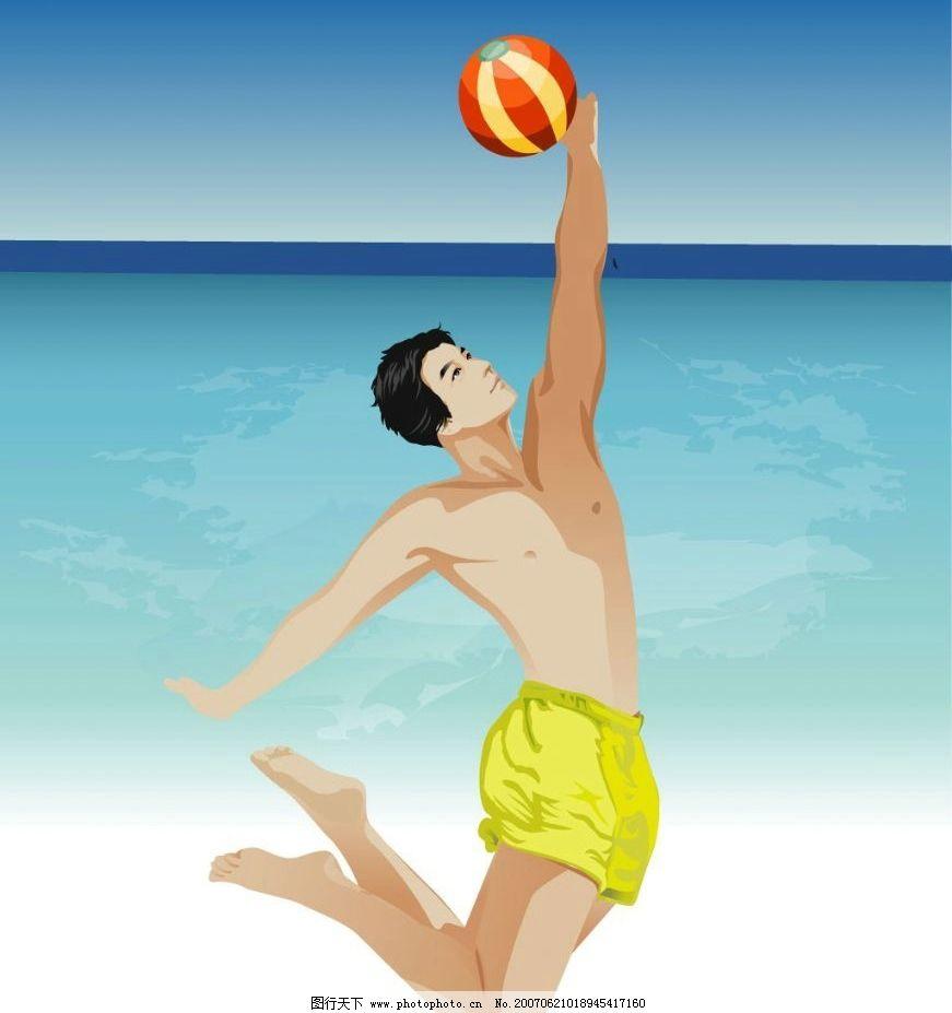 沙滩排球 排球 排球运动 帅哥 打排球 海边沙滩 海滩 沙滩 大海 海水