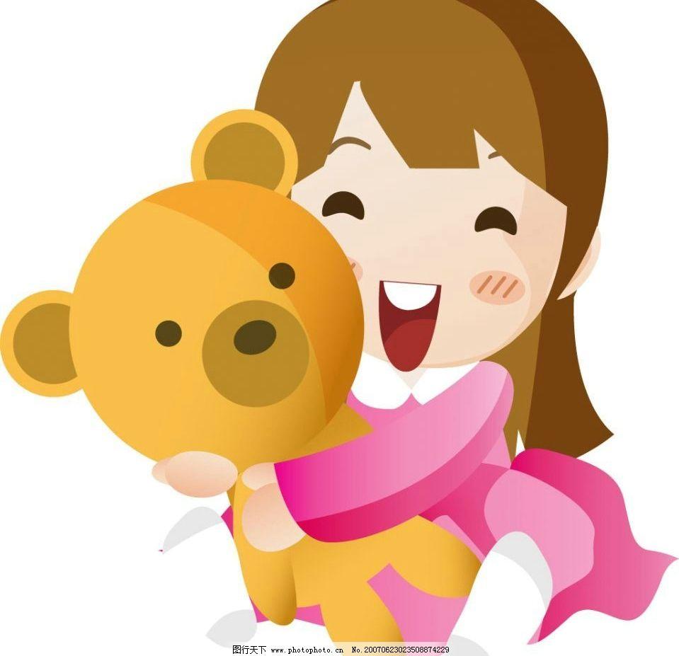 抱玩具熊女孩子 玩具熊