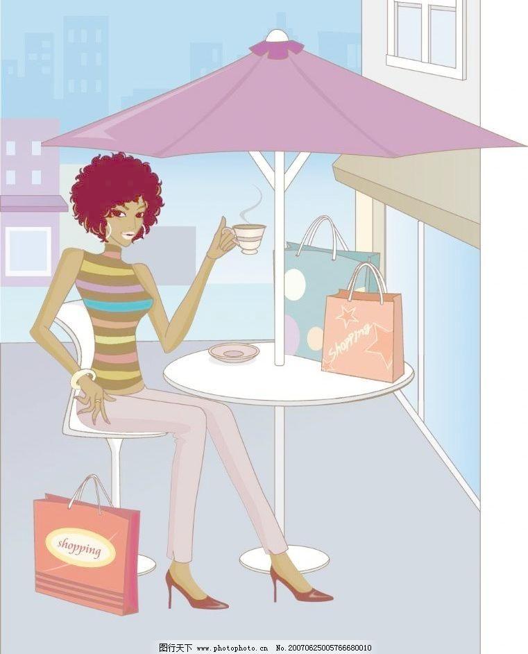 喝咖啡购物女性图片免费下载 瓤Х裙何锱允噶克夭 矢量图 日常生活
