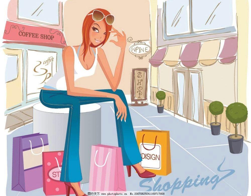 美女 女性 美女购物 女性购物 逛街 购物 卡通美女 卡通人物 矢量美女