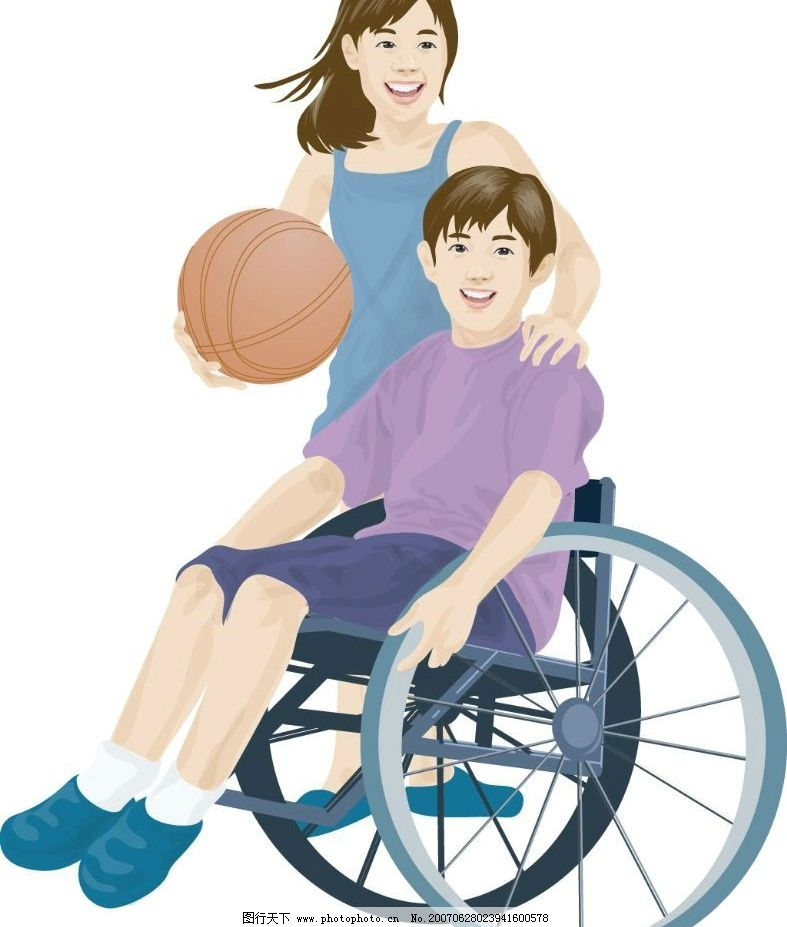 残疾男孩 残疾人 篮球 女孩 儿童 卡通人物 卡通 矢量 矢量人物 其他