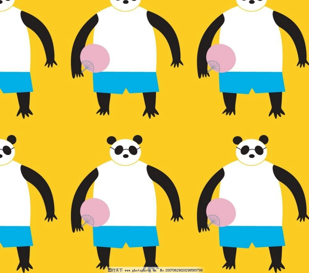 卡通大熊猫底纹 底纹 底纹图案 底纹矢量 底纹素材 矢量 底纹边框