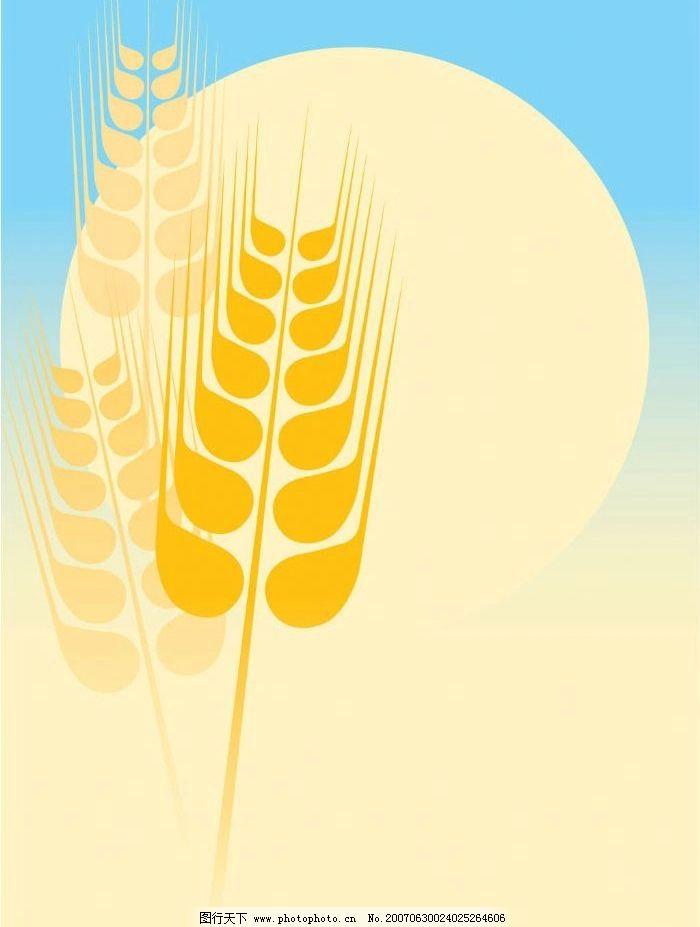 金色麦子矢量图图片